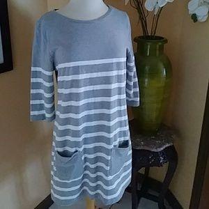 Boden sweatshirt gray striped shift dress sz L